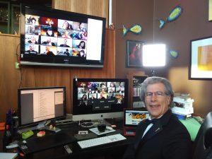 Steve Shlisky Inside his edit suite watching the 2020 Emmy Gala